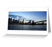 New York City evening skyline with Brooklyn Bridge over Hudson River  Greeting Card