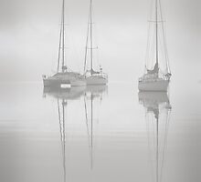 Sitting in th Fog - Eastern Beach Geelong by Graeme Buckland