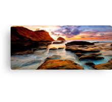 Tide Pool Oil Painting Canvas Print