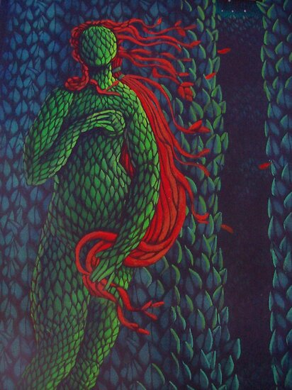 Venus Topiary (Painted Laser Print Collage) by Donna Huntriss