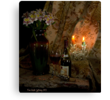 Rhone Wine and 2 Candles Canvas Print