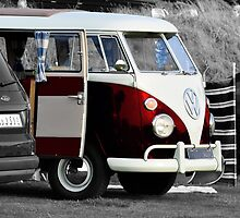 Bright Red VW Split Screen Camper Van by Paul Howarth