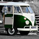 Bright Green Split Screen VW Camper Van by Paul Howarth