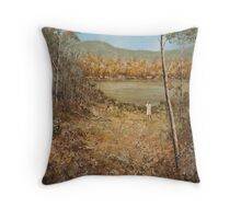 GIRL BY THE RIVER Throw Pillow
