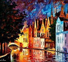 BRUGES -  NORTHERN VENICE- OIL PAINTING BY LEONID AFREMOV by Leonid  Afremov