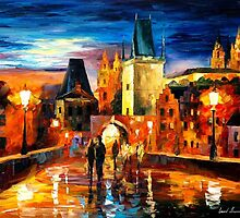 NIGHT IN PRAGUE- OIL PAINTING BY LEONID AFREMOV by Leonid  Afremov