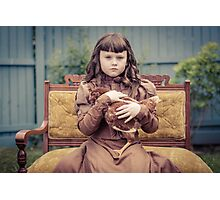 A Girl and Her Pet Chicken Photographic Print