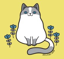 Gray and White Cat with Blue Eyes and Flowers by zoel