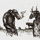 Ed and Hal (Ink on Wood) by Caroline  Gates