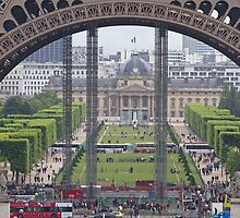 A view through the Eiffel Tower, Paris. by Keith Larby
