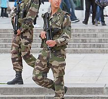 Soldiers on duty in Paris France by Keith Larby
