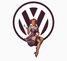 Volkswagen Pin-Up Wrenching Wanda (dark purple) by Sarah Caudle