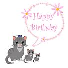 Cat n Kittens Birthday card by Dawnsky2