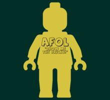 "Yellow Minifig with ""AFOL, Show me the Bricks"" Slogan by Customize My Minifig by ChilleeW"