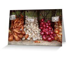 Food - Vegetable - Sweet potatoes, Garlin, and Onions, Yum  Greeting Card