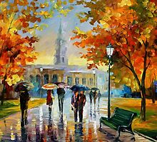 STROLL IN AN OCTOBER PARK - OIL PAINTING BY LEONID AFREMOV by Leonid  Afremov