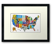 License Plate Map of The United States 2012 Edition 3 on White Framed Print