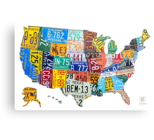 License Plate Map of The United States 2012 Edition 3 on White Metal Print
