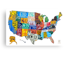 License Plate Map of The United States 2012 Edition 3 on White Canvas Print
