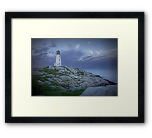 Lighthouse at Peggy's Cove in the Moonlight Framed Print