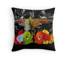 Two Toy Fish Kissing Throw Pillow