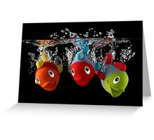 Three Toy Fish With Splash Greeting Card