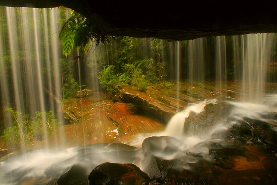 Lower Somersby Falls .. behind the veil by Michael Matthews