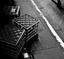 The lonely life of a milk crate (watching the world go by) by Georgie Hart