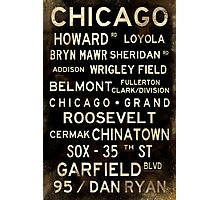 Distressed Chicago L Subway Sign Art Photographic Print