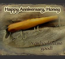 Happy Anniversary Honey Card - Vintage Atom A40 Saltwater Lure by MotherNature