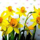 Daffodils with Colorful Bees by CrystalFanning
