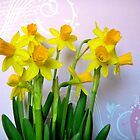 Daffodils with Pink and Swirls by CrystalFanning
