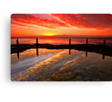 Three Seagulls and the Sunrise Canvas Print