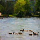 Geese 01 by Karen  Securius