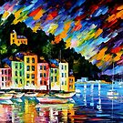 PORTOFINO HARBOUR - ITALY - OIL PAINTING BY LEONID AFREMOV by Leonid  Afremov