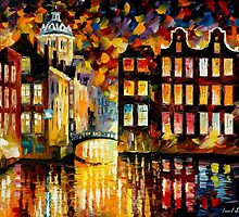 PENSIVE AMSTERDAM - OIL PAINTING BY LEONID AFREMOV by Leonid  Afremov