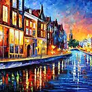 AMSTERDAM - SUNDAY NIGHT - OIL PAINTING BY LEONID AFREMOV by Leonid  Afremov