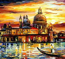 THE GOLDEN SKIES OF VENICE - OIL PAINTING BY LEONID AFREMOV by Leonid  Afremov