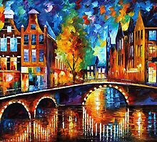 THE BRIDGES OF AMSTERDAM - OIL PAINTING BY LEONID AFREMOV by Leonid  Afremov