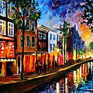 AMSTERDAM- RED LIGHTS - OIL PAINTING BY LEONID AFREMOV by Leonid  Afremov