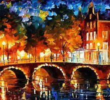 AMSTERDAM - OLD BRIDGE - OIL PAINTING BY LEONID AFREMOV by Leonid  Afremov