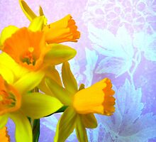 Daffodils and Purple Flowers by CrystalFanning