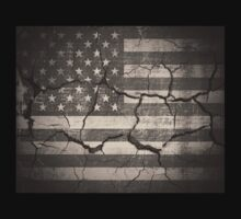 Vintage American Flag Cracked Wall by Nhan Ngo
