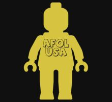 Minifig with AFOL USA United States of America Slogan by Customize My Minifig by ChilleeW