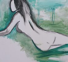 female nude on green ink wash by hayleystar