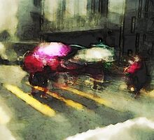 Umbrellas at the crossing III by robigeehk