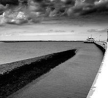 Pier in Oostende (East End) Belgium by M. van Oostrum