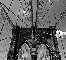 Brooklyn Bridge Wires - Black & White by Samantha Wong