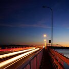 Follow the Light - Bribie Island Bridge by Barbara Burkhardt