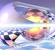 Refraction Within A Reflection Over Checkerboard by Hugh Fathers